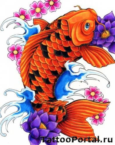 Эскиз татуировки карп и цветы