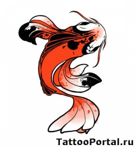 Эскиз тату японский карп в красном