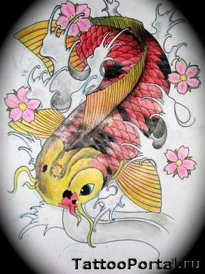 Рисунок татуировки японский карп и