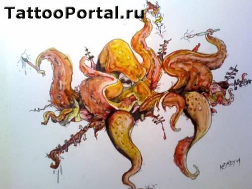 Эскиз татуировки осьминог со шприцем